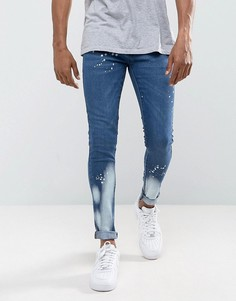 Выбеленные супероблегающие джинсы Criminal Damage - Синий