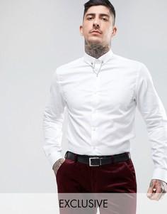 Приталенная рубашка с планкой на воротнике Noose & Monkey - Белый