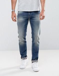 Синие выбеленные эластичные джинсы слим United Colors of Benetton - Синий