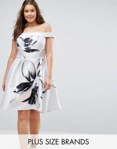Платье со спущенными плечами и цветочным принтом Coast Plus - Серебряный