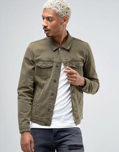 Зауженная джинсовая куртка цвета хаки ASOS - Зеленый