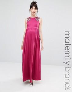 Платье макси без рукавов для беременных с цветочной отделкой на плечах Little Mistress Maternity - Розовый