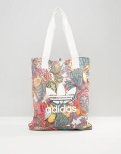 Сумка для покупок с ярким цветочным принтом adidas Originals - Мульти