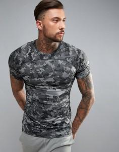 Серая облегающая футболка с камуфляжным принтом Nike Training Pro HyperCool 828180-037 - Серый