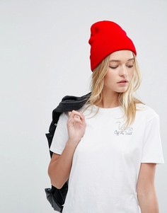 Шапка-бини с отворотом ASOS - Красный