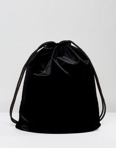 Черный бархатный рюкзак на шнурке Mi-Pac - Черный