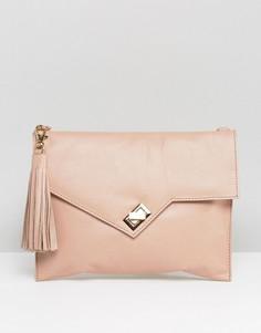 Кожаный клатч с кисточкой Urbancode - Розовый