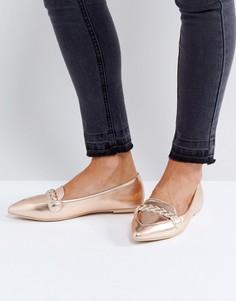 Розово-золотистые туфли на плоской подошве Lost Ink - Золотой