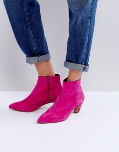 Замшевые полусапожки на каблуке ASOS REANNE - Розовый