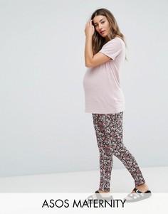 Трикотажные брюки галифе с мелким принтом ASOS Maternity - Мульти