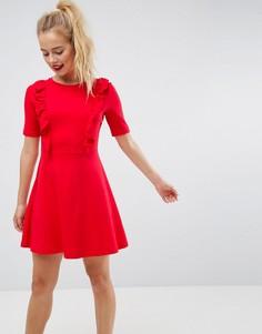 Свободное хлопковое платье с оборками ASOS - Красный