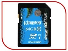 Карта памяти 64Gb - Kingston - Secure Digital HC Ultimate UHS-I Class 10 SDA10/64GB