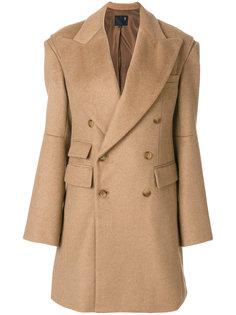 двубортное пальто с широкими лацканами  R13