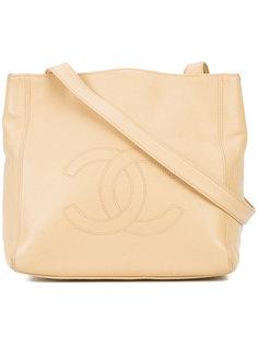 сумка-тоут с тисненым логотипом Chanel Vintage