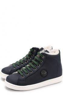 Утепленные кожаные кеды на шнуровке с молнией Il Gufo