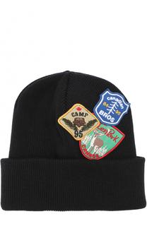 Шерстяная шапка бини с нашивками Dsquared2
