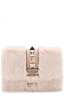 Сумка Glam Lock с меховой отделкой Valentino