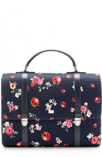 Портфель с принтом и кожаной отделкой Dolce & Gabbana