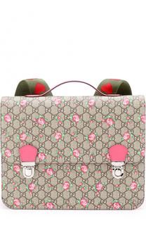 Текстильный портфель с принтом Gucci