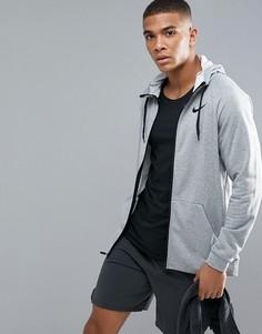 Худи серого цвета из флиса Nike Training Dri-FIT 860465-063 - Серый
