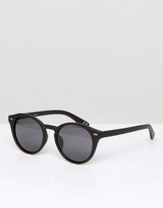 Черные матовые круглые солнцезащитные очки с поляризованными стеклами ASOS - Черный