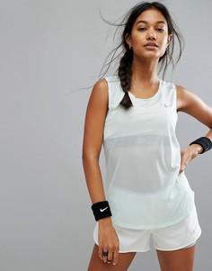 Майка с сетчатыми вставками Nike Running - Синий