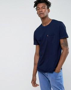 Футболка цвета индиго с карманом Levis Sunset - Темно-синий