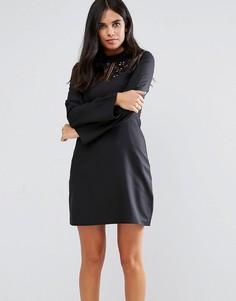 Платье с кружевной вставкой Rage - Черный