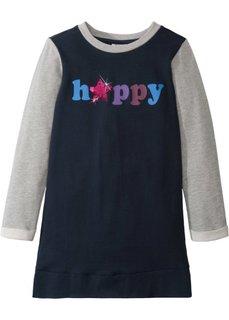 Трикотажное платье с аппликациями (темно-синий/светло-серый меланж) Bonprix
