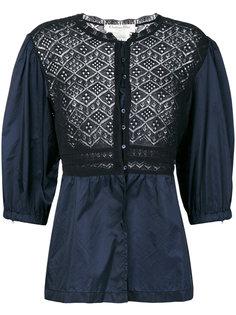 блузка с кружевной вставкой  Christian Dior Vintage