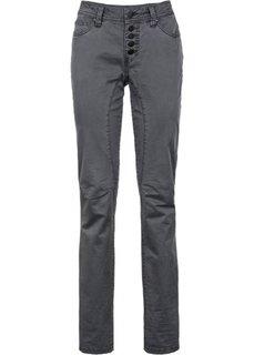 Стрейтчевые брюки Loose Fit на пуговицах (антрацитовый) Bonprix