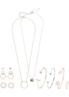 Комплект украшений в 3 цветах (серебристый/розово-золотистый/золотистый) Bonprix