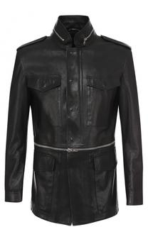 Удлиненная кожаная куртка на молнии с воротником-стойкой Alexander McQueen
