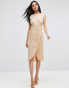 Платье миди с пайетками ASOS - Золотой