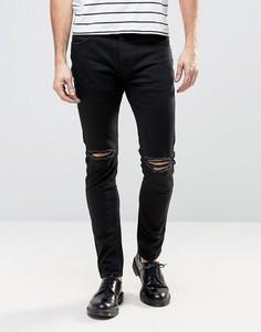 Черные джинсы слим с рваной отделкой на коленях Rollas Thin Captain - Черный