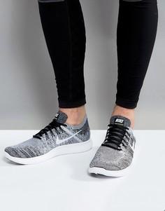 Серые кроссовки Nike Running Free Run Flyknit 2017 880843-003 - Черный