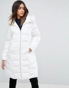 Длинное стеганое пальто с искусственным мехом ASOS - Белый