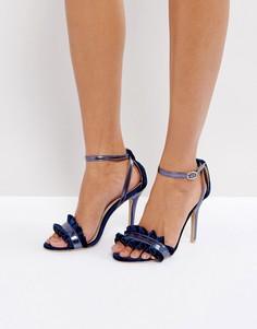Темно-синие босоножки на каблуке с рюшами True Decadence - Темно-синий