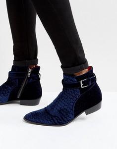 Ботинки из бархата Walk London Ziggy - Синий