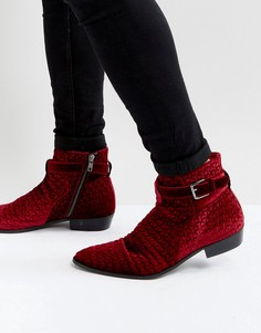 Ботинки из бархата Walk London Ziggy - Красный
