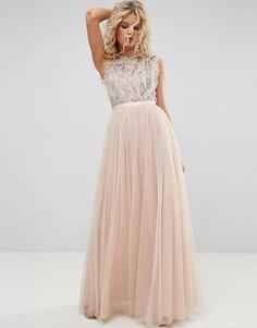 Декорированное платье с оборками Needle and Thread - Розовый