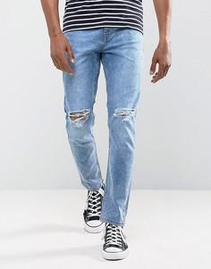 Голубые выбеленные эластичные джинсы зауженного кроя с рваной отделкой Antioch - Синий
