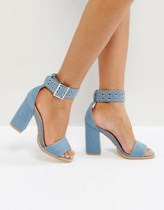 Синие джинсовые босоножки на блочном каблуке RAID Rorey - Синий