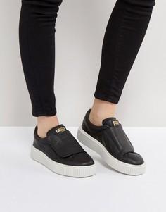 Черные кожаные кроссовки на платформе с ремешком Puma - Черный