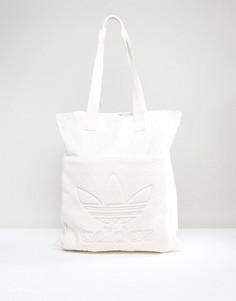 Сумка кремового цвета с флисовой вставкой Adidas Originals - Белый