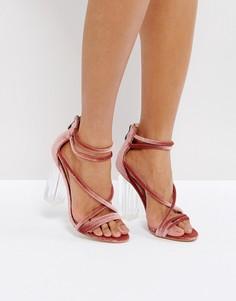 Розовые босоножки на каблуке Public Desire - Золотой