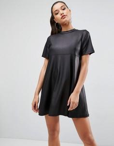 Платье-футболка мини из полиуретана ASOS - Черный