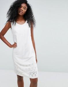Пляжное платье без рукавов с вышивкой ришелье Anmol - Кремовый