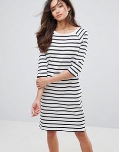 Трикотажное платье в полоску с рукавами 3/4 Selected Natali - Белый