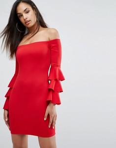 Платье мини с ярусными рукавами Club L - Красный